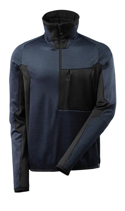 MASCOT® ADVANCED - mørk marine/svart - Fleecegenser med kort glidelås, moderne passform