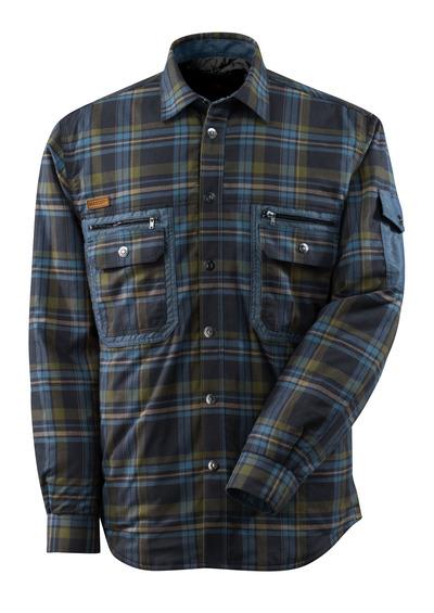 MASCOT® ADVANCED - mørk marine/steinblå* - Termoskjorte av storrutet flanell med quilt.
