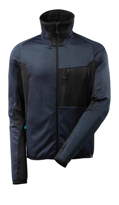 MASCOT® ADVANCED - mørk marine/svart - Fleecejakke med glidelås, moderne passform