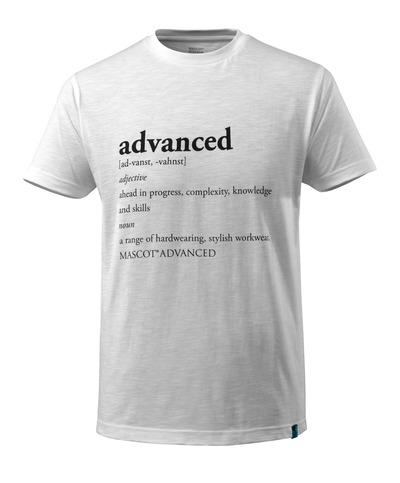 MASCOT® ADVANCED - hvit - T-skjorte med ADVANCED-tekst, moderne passform