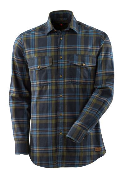 MASCOT® ADVANCED - mørk marine/steinblå - Skjorte av storrutet flanell.