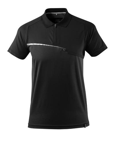 MASCOT® ADVANCED - svart - Polo-skjorte med brystlomme, fukttransporterende, moderne passform