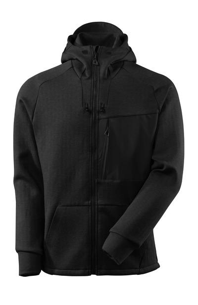 MASCOT® ADVANCED - svart melert/svart - Hettejakke med glidelås, moderne passform