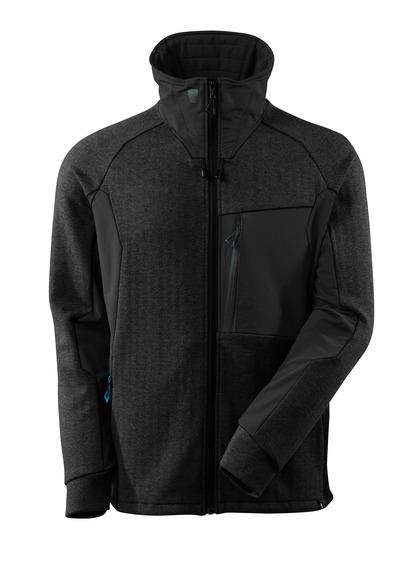 MASCOT® ADVANCED - svart melert/svart - Jakke med glidelås, høy krage, moderne passform