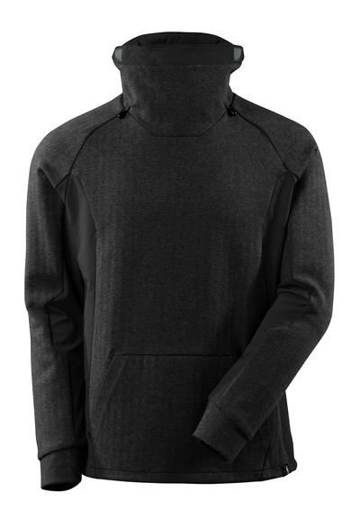 MASCOT® ADVANCED - svart melert/svart - Genser med høy, justerbar krage og moderne passform