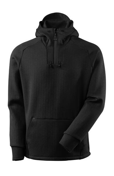 MASCOT® ADVANCED - svart melert/svart - Hettegenser med kort glidelås, moderne passform