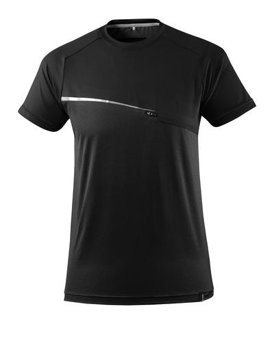 MASCOT® ADVANCED - svart - T-skjorte med brystlomme, fukttransporterende, moderne passform
