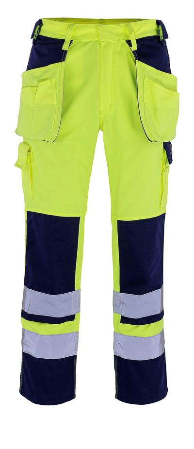 MASCOT® Almas - hi-vis gul/marine - Bukser med kne- og hengelommer, klasse 2