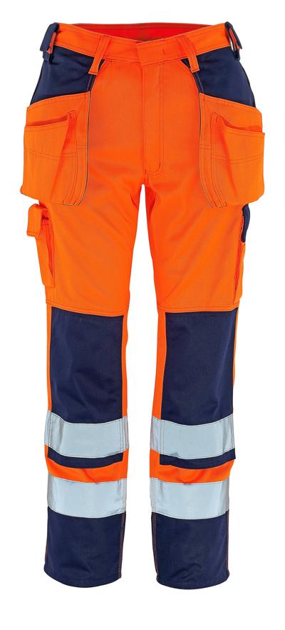 MASCOT® Almas - hi-vis oransje/marine - Bukser med kne- og hengelommer, klasse 2
