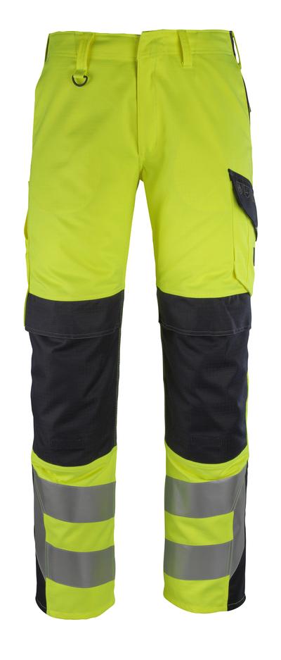 MASCOT® Arbon - hi-vis gul/mørk marine - Bukser med knelommer, multisafe, klasse 2