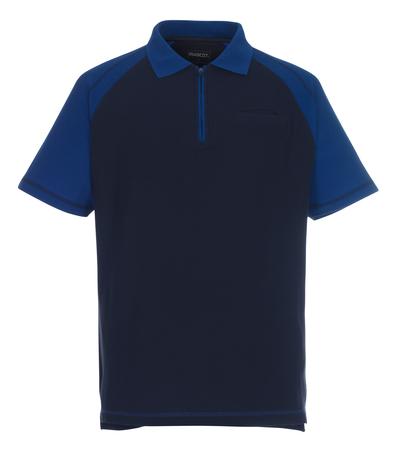 MASCOT® Bianco - marine/kobolt - Pikéskjorte med glidelås, klassisk passform, brystlomme
