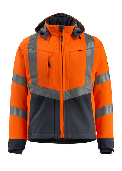 MASCOT® Blackpool - hi-vis oransje/mørk marine - Softshelljakke med fleece på innsiden, vannavvisende, klasse 3