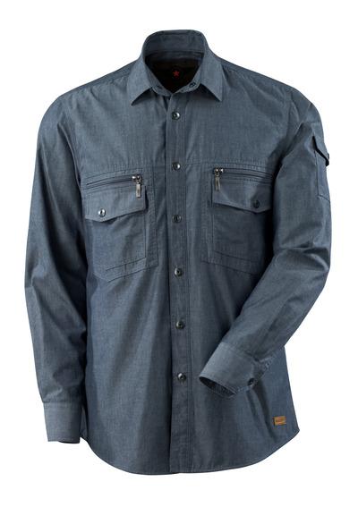 MASCOT® CROSSOVER - vasket mørk blå denim - Skjorte chambray med nettfór.