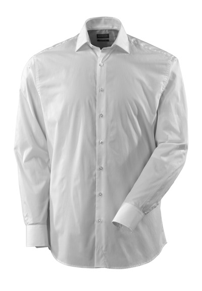 MASCOT® CROSSOVER - hvit - Skjorte poplin, klassisk passform, lange ermer.