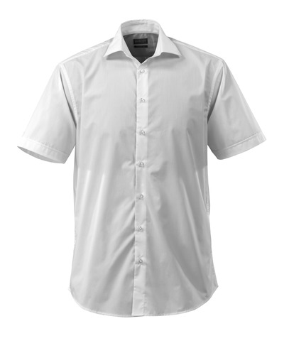 MASCOT® CROSSOVER - hvit - Skjorte poplin, klassisk passform, korte ermer.