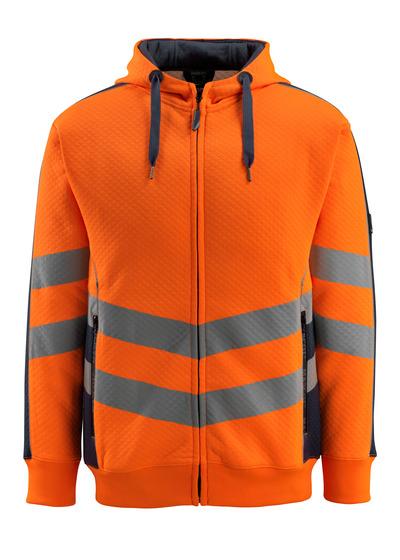 MASCOT® Corby - hi-vis oransje/mørk marine - Hettegenser, ruglete overflate, moderne passform