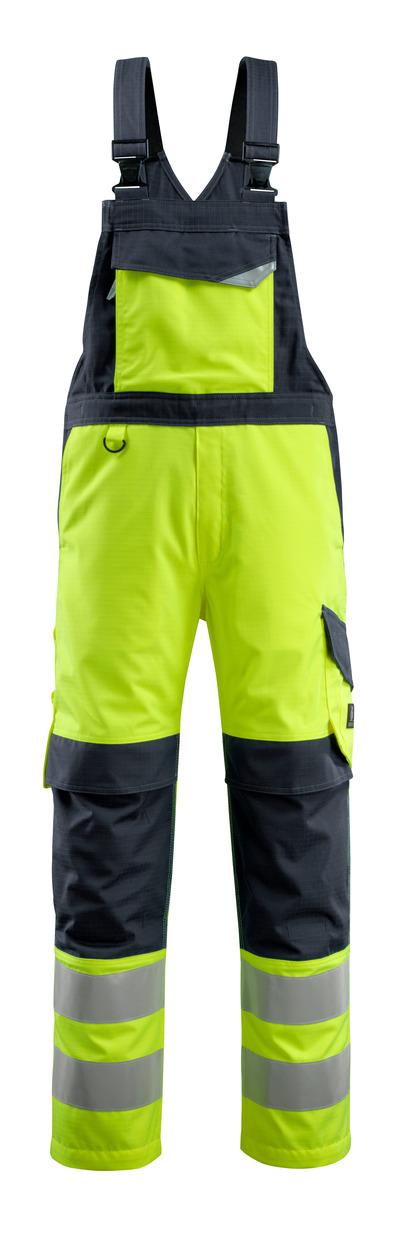 MASCOT® Davos - hi-vis gul/mørk marine - Overall med knelommer, multisafe, klasse 2
