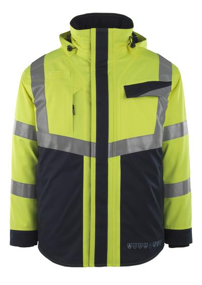 MASCOT® Emmen - hi-vis gul/mørk marine - Vinterjakke med quiltfôr, vanntett, multisafe, klasse 2