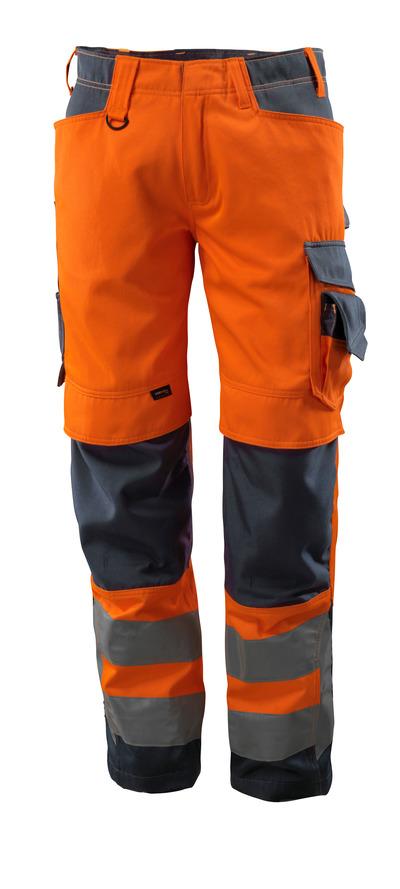 MASCOT® Kendal - hi-vis oransje/mørk marine - Bukser med CORDURA®-knelommer, klasse 2