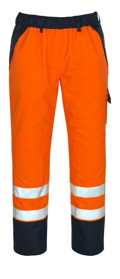 MASCOT® Linz - hi-vis oransje/marine - Overtrekksbukse med knelommer, vanntett MASCOTEX®, klasse 1/2