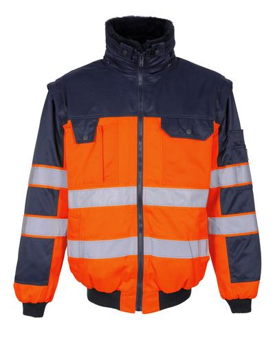 MASCOT® Livigno - hi-vis oransje/marine - Pilotjakke med uttakbart pelsfôr, vannavvisende, klasse 2