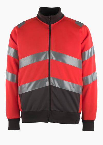 MASCOT® Maia - hi-vis rød/mørk antrasitt* - Collegegenser med glidelås, moderne passform, klasse 2