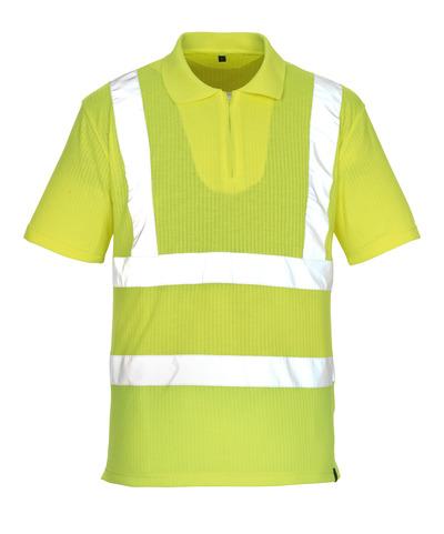 MASCOT® Melville - hi-vis gul* - Pikéskjorte med glidelås, klassisk passform, klasse 2/2