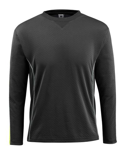 MASCOT® Montilla - svart/hi-vis gul - T-skjorte med hi-vis-kontrast, langermet, moderne passform