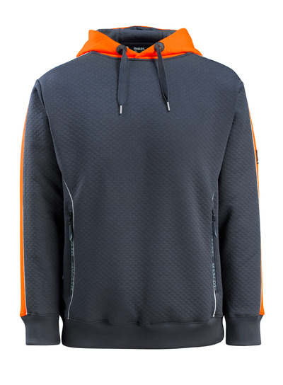 MASCOT® Motril - mørk marine/hi-vis oransje - Hettegenser med hi-vis-kontrast, ruglete overflate, moderne passform