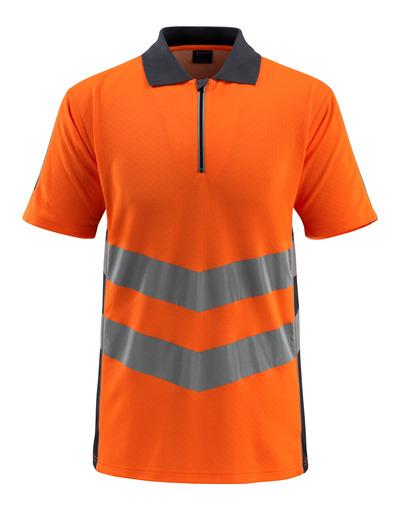MASCOT® Murton - hi-vis oransje/mørk marine - Pikéskjorte med glidelås, moderne passform, klasse 2