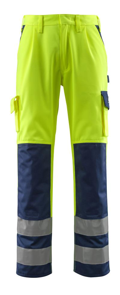 MASCOT® Olinda - hi-vis gul/marine - Bukser med knelommer, klasse 2