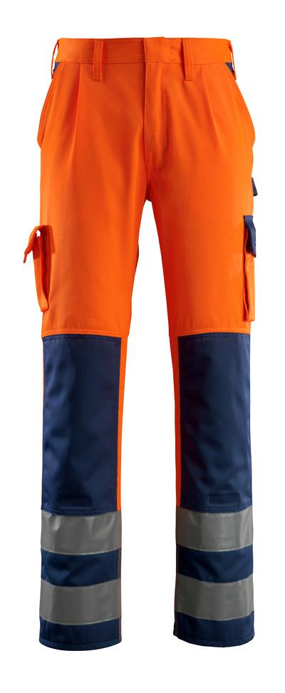 MASCOT® Olinda - hi-vis oransje/marine - Bukser med knelommer, klasse 2