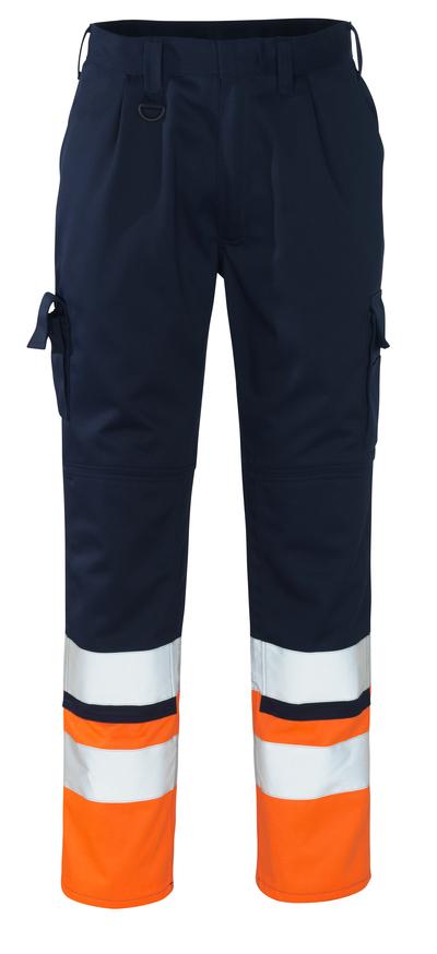 MASCOT® Patos - marine/hi-vis oransje - Bukser med knelommer, klasse 1