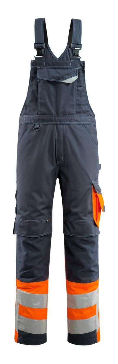 MASCOT® Sunderland - mørk marine/hi-vis oransje - Overall med knelommer, klasse 1