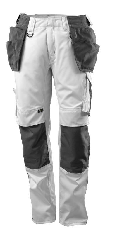 MASCOT® UNIQUE - hvit/mørk antrasitt - Bukser med CORDURA® kne- og hengelommer, lav vekt