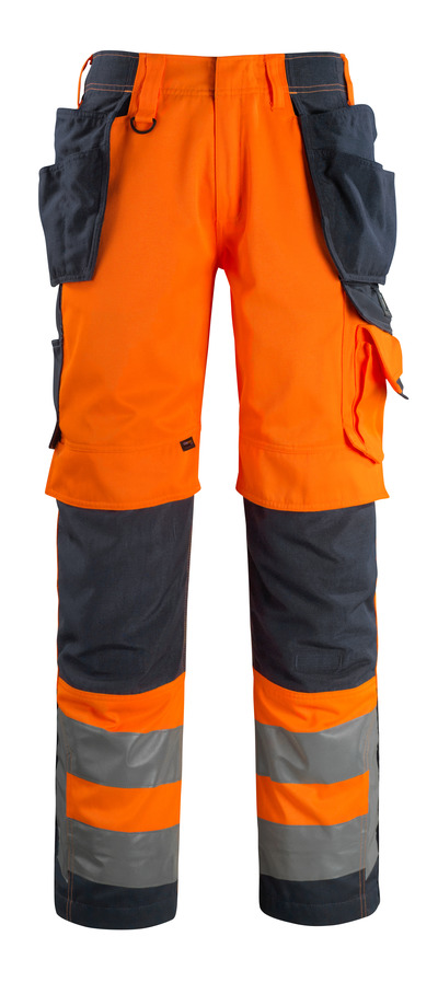 MASCOT® Wigan - hi-vis oransje/mørk marine - Bukser med CORDURA® kne- og hengelommer, god slitestyrke, klasse 2